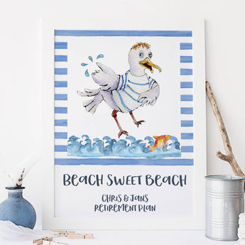 Personalised Beach Home Retirement Print Sea, Ocean