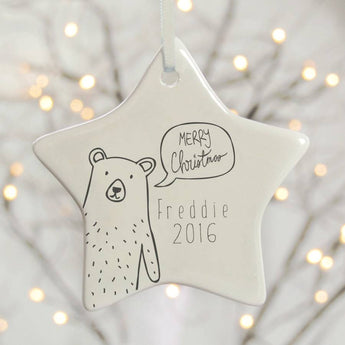 Personalised Christmas Tree Decoration - Scandi Bear