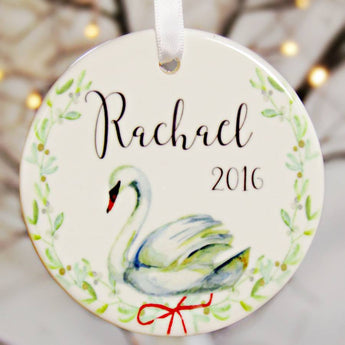 Personalised Swan Tree Decoration