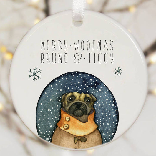 Personalised Tree Decoration Pug Dog Watercolour