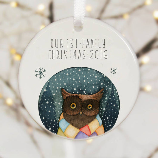 Personalised Tree Decoration Owl Winter Watercolour