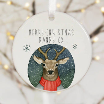 Personalised Tree Decoration With A Deer