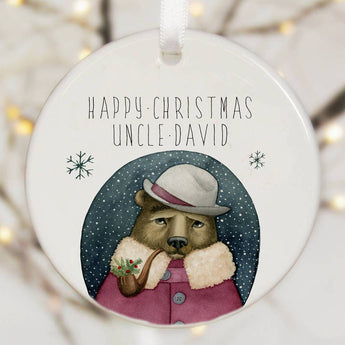 Personalised Tree Decoration With Bear And Pipe