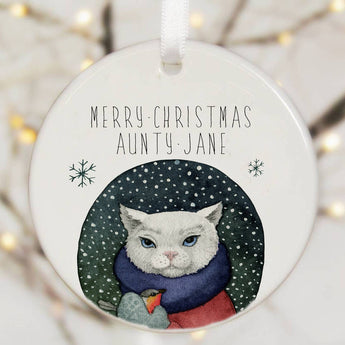 Personalised Tree Decoration With Cat Watercolour