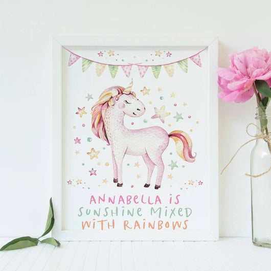 Unicorn Sunshine Rainbows Print