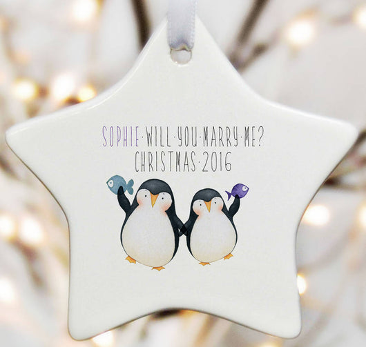 Valentines Gift Will You Marry Me - Penguins