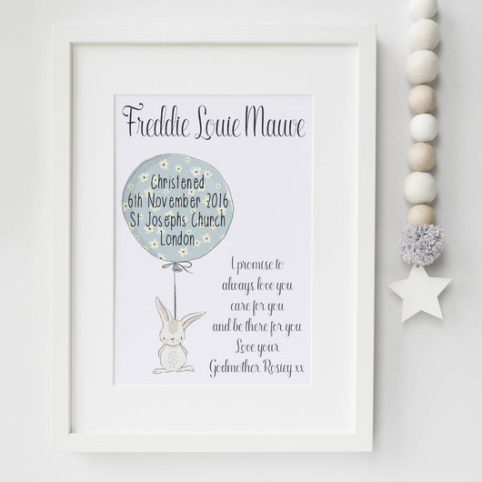 Christening Gifts Print Rabbit and Balloon