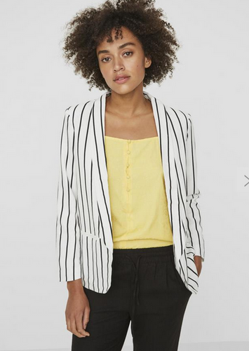 Striped Linen Blazer - White