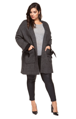 Bow Cuff Cardigan-Dex Plus