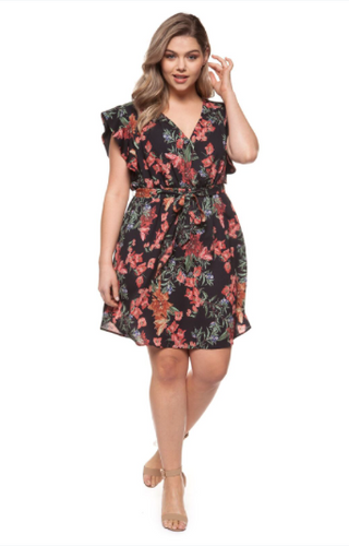 Floral Wrap Dress-Dex Plus