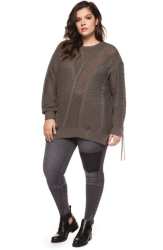 Cable Lace Up Sweater-Dex Plus