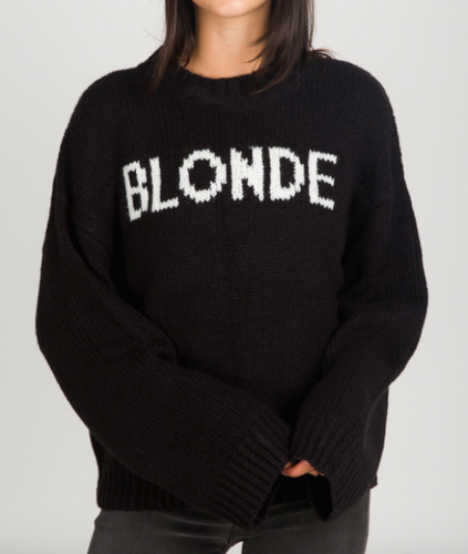 Blonde Knit Hey Girl Sweater-Brunette The Label