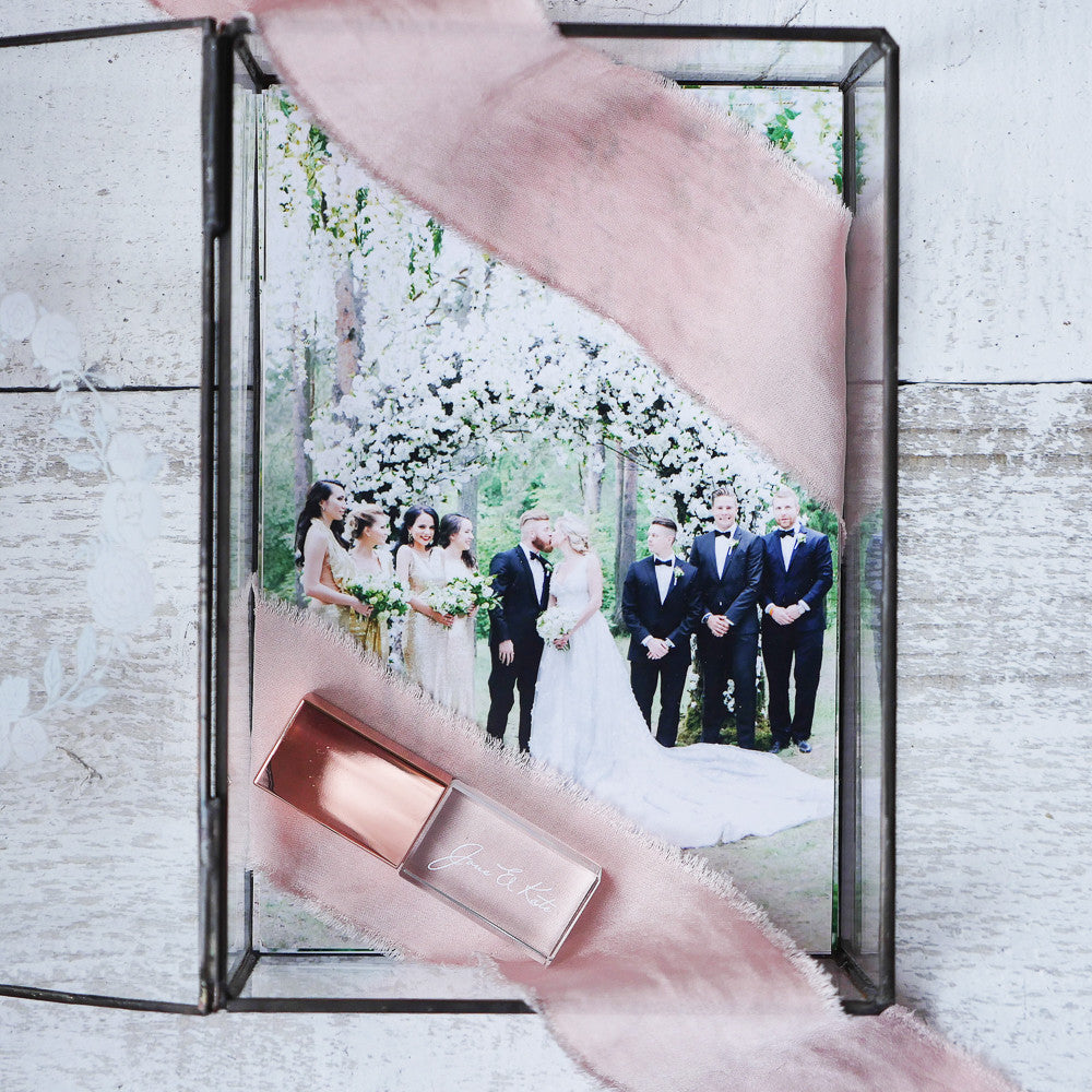 Glass box for USB and photo 4x6 (10x15cm) with colored logo, wedding package, wedding box, packing