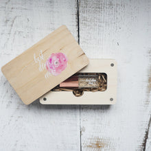 Wood box for USB and photo 4x6 (10x15cm) with colored logo, wedding package, wedding box, packing