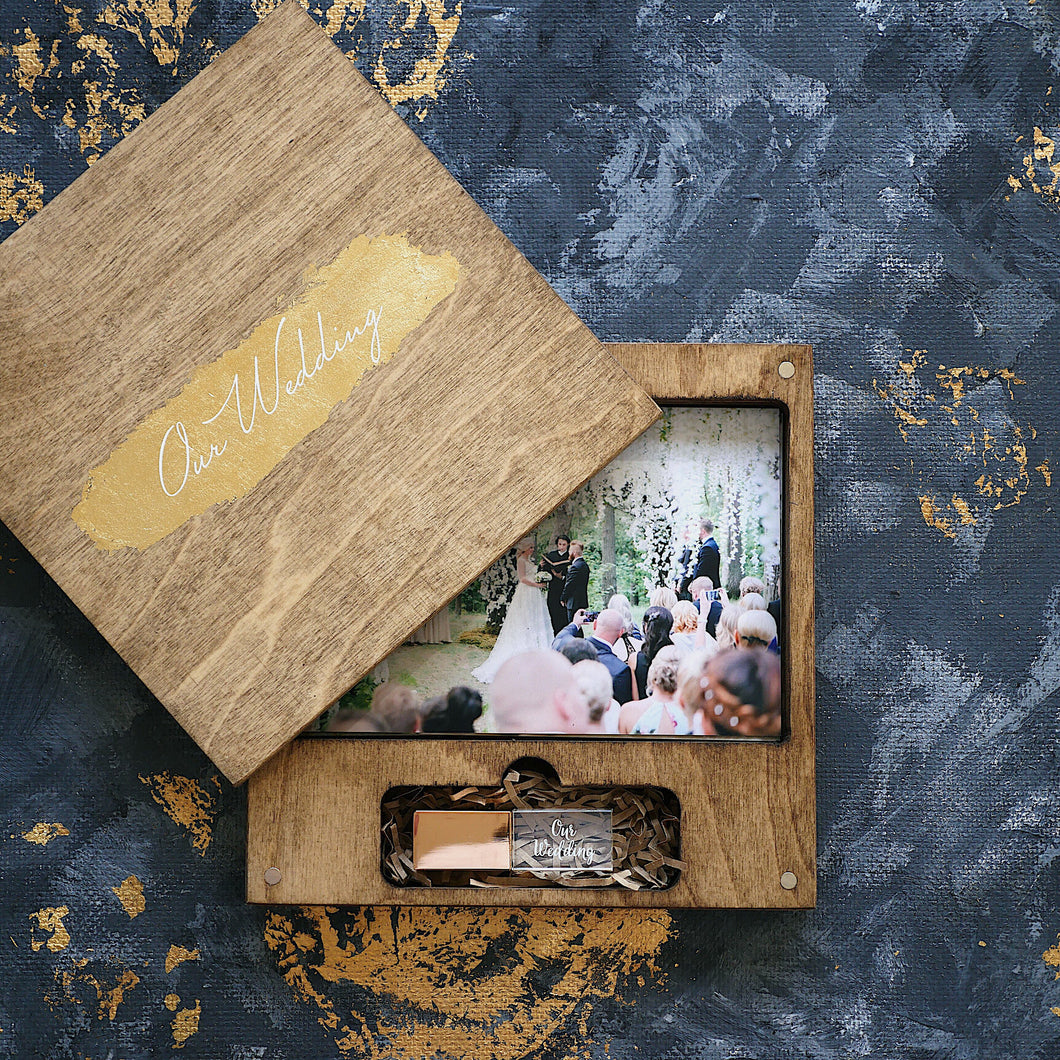 Wood box for photo with gold logo