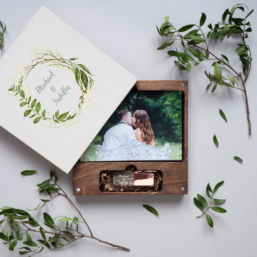 Sample Wood box for photo with colored logo FREE SHIPPING
