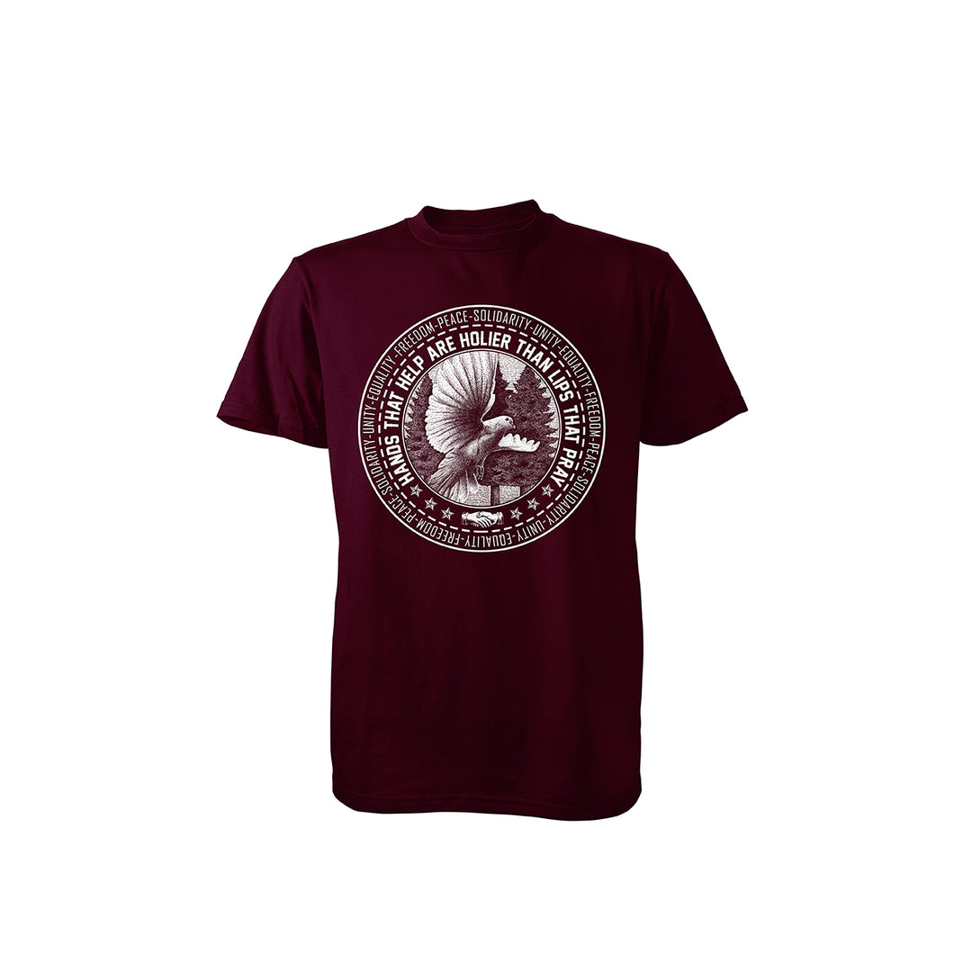 Solidarity Charity T-Shirt (Forest Green/ Maroon)