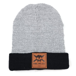 One Two Six Fake Leather Patch Beanie - Winter Two Tone