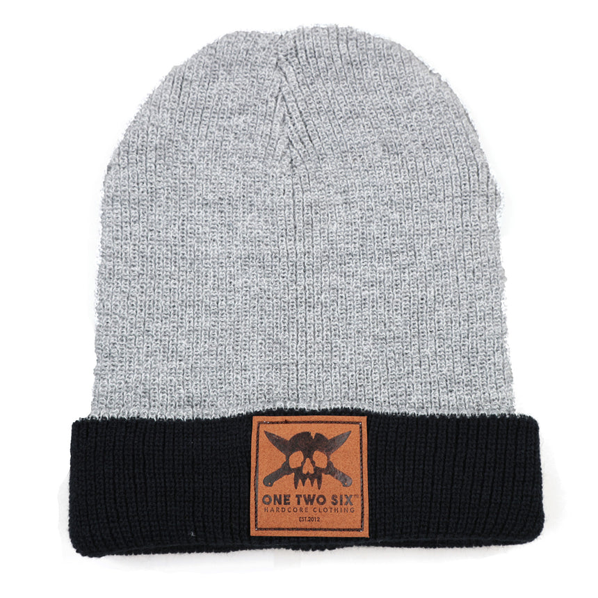 Eco Leather Patch Beanie  (Winter Two Tone)