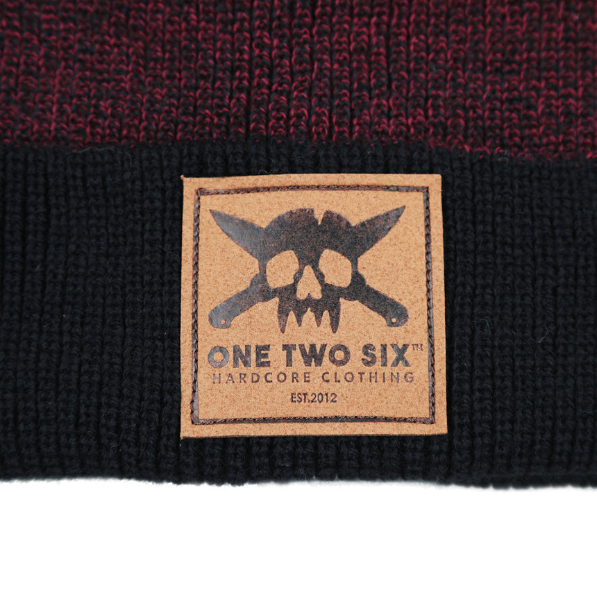 Eco Leather Patch Beanie  (Maroon Two Tone)