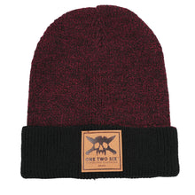 Load image into Gallery viewer, One Two Six Fake Leather Patch Beanie - Maroon Two Tone