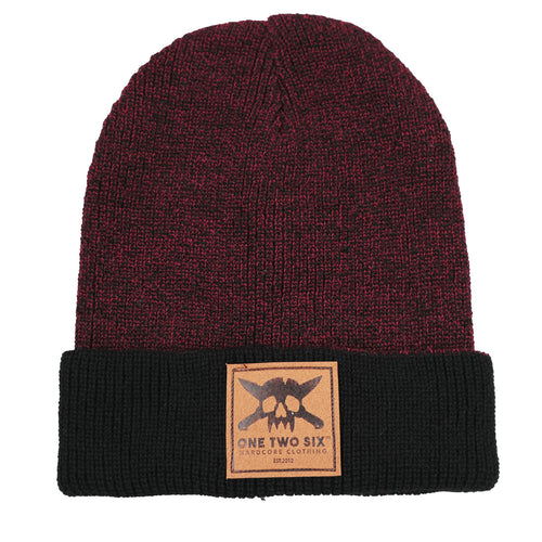 One Two Six Fake Leather Patch Beanie - Maroon Two Tone