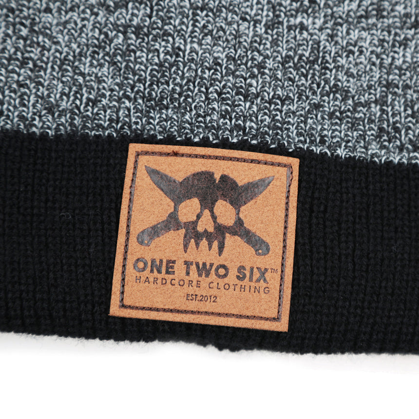 Eco Leather Patch Beanie  (Grey Two Tone)