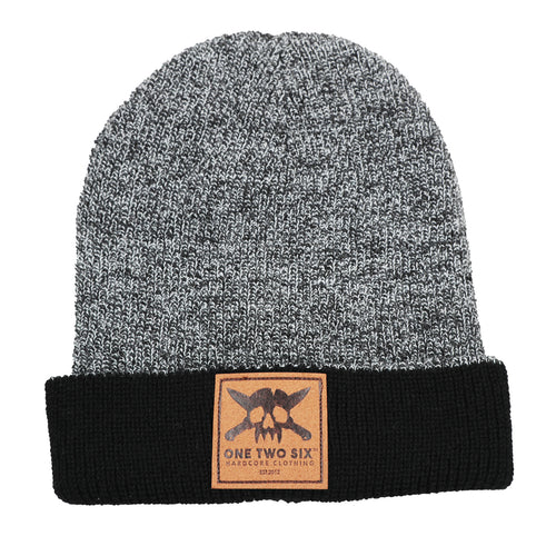 One Two Six Fake Leather Patch Beanie - Grey Two Tone