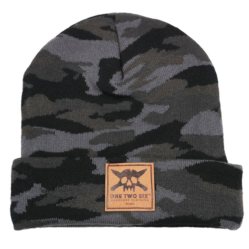 One Two Six Fake Leather Patch Beanie - Grey Camo