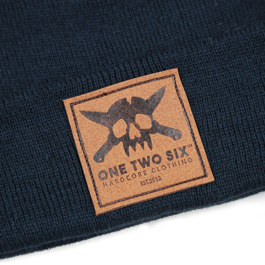 Eco Leather Patch Beanie  (Dark Blue)