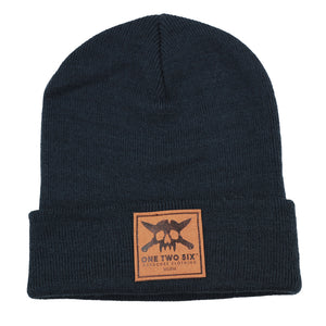 One Two Six Fake Leather Patch Beanie - Dark Blue