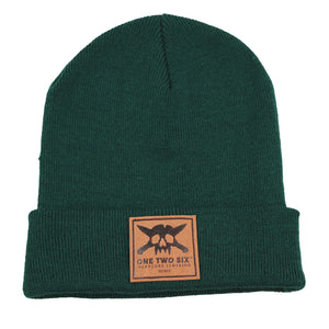 One Two Six Fake Leather Patch Beanie - Green