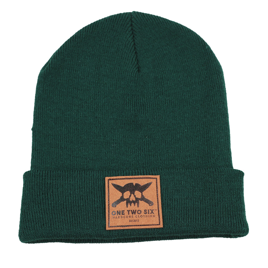 Eco Leather Patch Beanie (Forest Green)