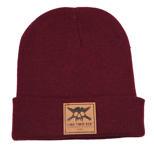 One Two Six Fake Leather Patch Beanie - Maroon