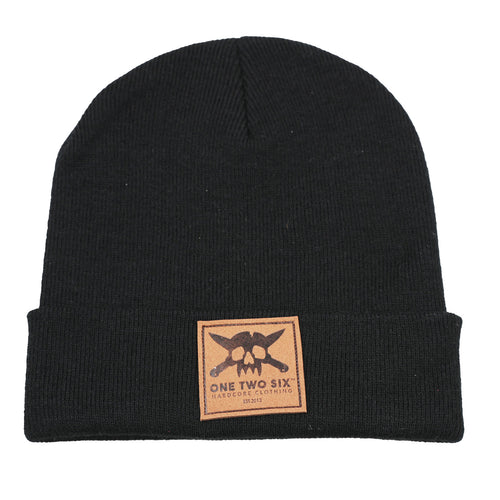 One Two Six Fake Leather Patch Beanie - Black