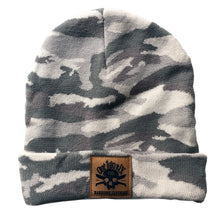 Load image into Gallery viewer, Camo Fake Leather Patch Beanie