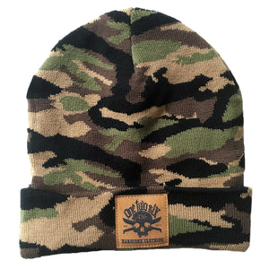 Camo Fake Leather Patch Beanie