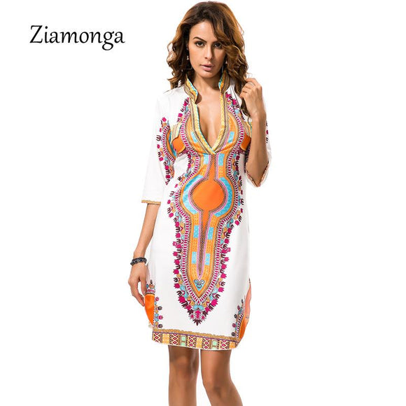 [collections] - CHEAPAPPLE African Clothes Dashiki Summer Dress und Africa Outfit Free Shipping.  Gender: Women Brand Name: Ziamonga Style: Casual Neckline: V-Neck Sleeve Length(cm): Half Material: Polyester,Lanon Waistline: Natural Silhouette: A-Line Decoration: Sequined Pattern Type: Print Model Number: S9281 Dresses Length: Knee-Length Sleeve Style: Regular Season: Summer Color: White Size: S,M,L,XL,XXL,XXXL Season: Spring, Autumn, Summer, Winter Place Of Origin: Zhejiang,