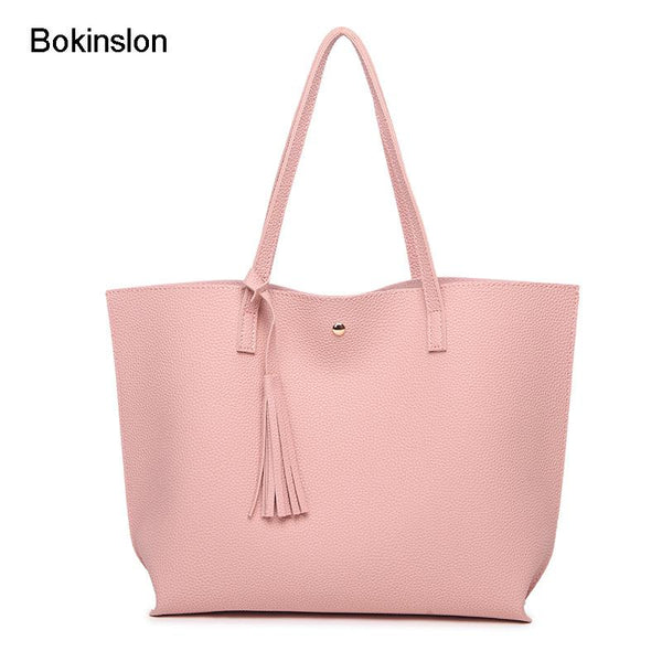 Handbags PU Leather Women Bag  Large Capacity Female Shoulder Bags Solid Color Practical