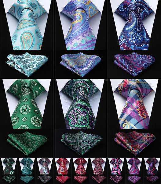 Men Tie Necktie  Pocket Square Classic Party Wedding Men's Fashion Handkerchief - CHEAPAPPLE