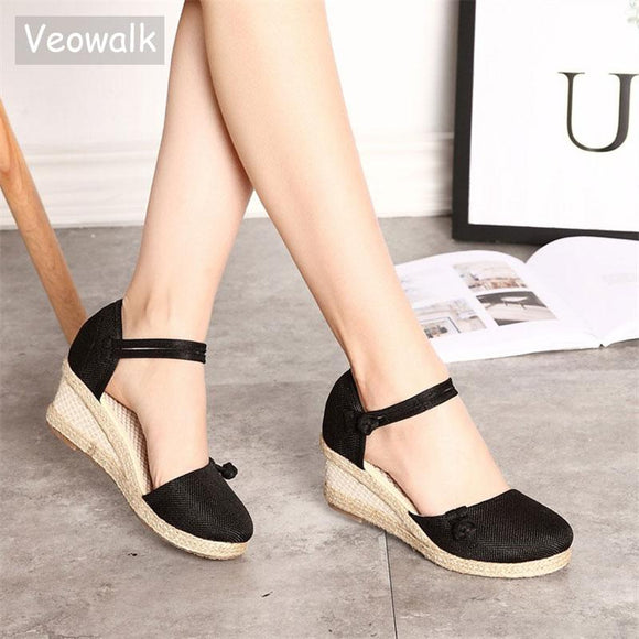[collections] - Cheapapple.net Vintage Embroidered Women Sandals Casual Linen Summer Ankle Strap Med Heel. Free shipping