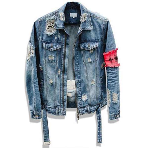 Fashion jeans Jackets patchwork Distressed Denim Man Slim Fit Street wear Hip-Hop Jacket - CHEAPAPPLE