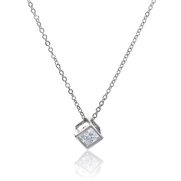 Crystal Rhinestone Pendant Necklace For Women Fashion Silver Color Square Clavicle Necklace Wedding Jewelry