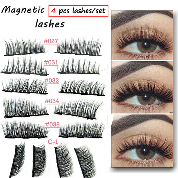 3D Mink Lashes 4PCS/Box Magnetic Eyelashes Soft Hair Double Magnet Eyelashes Extension Eye Makeup Accessories Free Shipping today