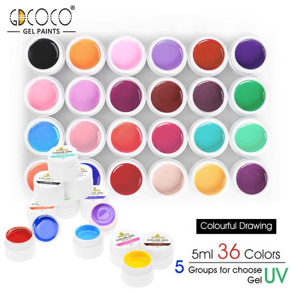 Color Gel Lacquer 36 Colors UV & LED Quick Dry Gel Paints