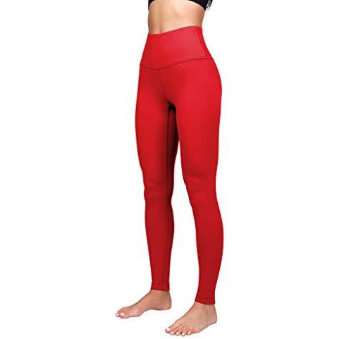 Yogalicious High Waist Ultra Soft Lightweight Leggings - High Rise Yoga Pants - Scorpio Red - Large