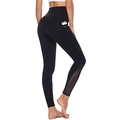 AFITNE Yoga Pants for Women High Waisted Mesh Leggings Tummy Control Athletic Workout Leggings with Pockets Gym Black - M