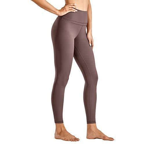 CRZ YOGA Women's Naked Feeling High Waist Yoga Tight Pants 7/8 Workout Leggings - 25 Inches Purple Taupe Small