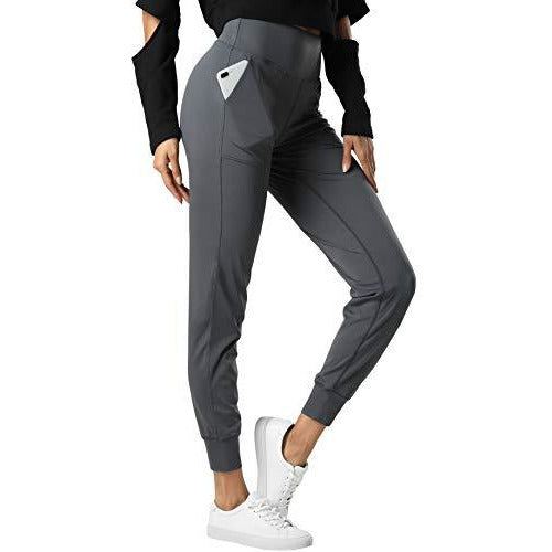 THE GYM PEOPLE Womens Joggers Pants with Pockets Athletic Leggings Tapered Lounge Pants for Workout, Yoga, Running (Large, Dark Grey)