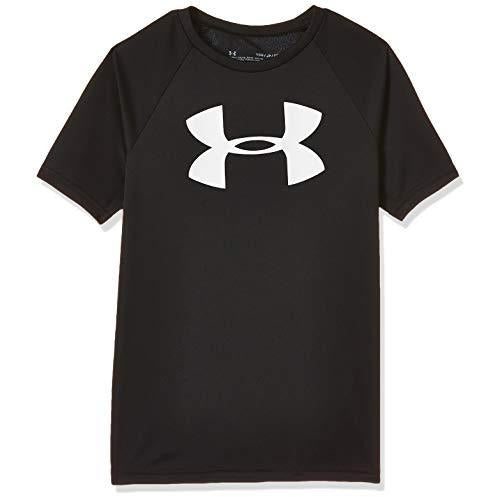 Under Armour Boys' Tech Big Logo Short Sleeve Gym T-Shirt , Black (001)/White , Youth Large
